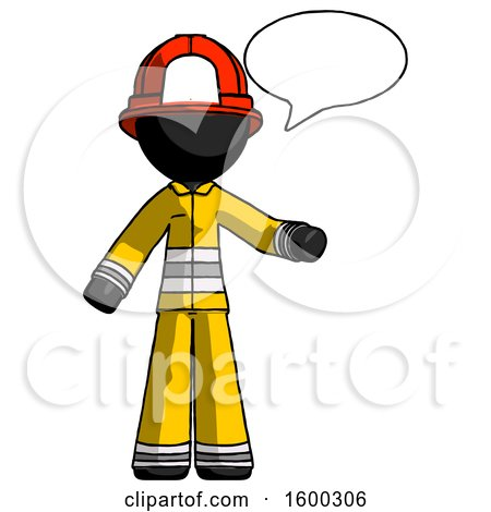 Black Firefighter Fireman Man with Word Bubble Talking Chat Icon by Leo Blanchette
