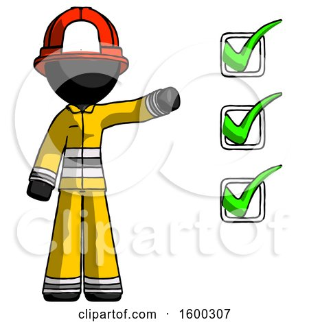 Black Firefighter Fireman Man Standing by List of Checkmarks by Leo Blanchette