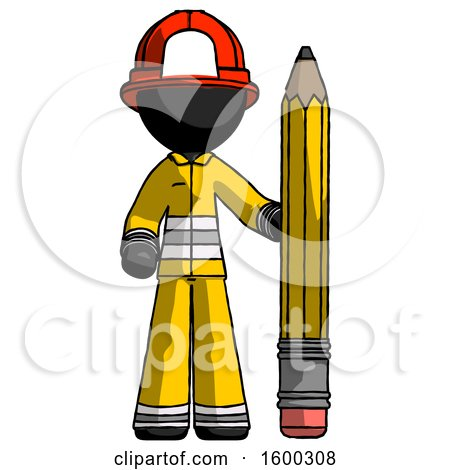 Black Firefighter Fireman Man with Large Pencil Standing Ready to Write by Leo Blanchette