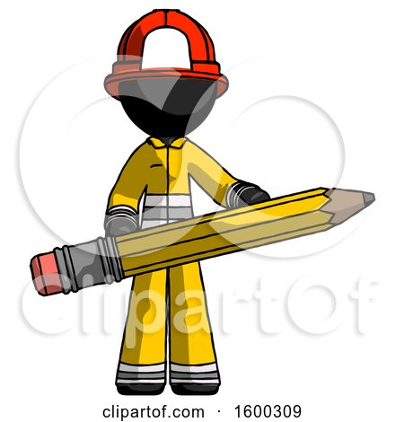 Black Firefighter Fireman Man Writer or Blogger Holding Large Pencil by Leo Blanchette