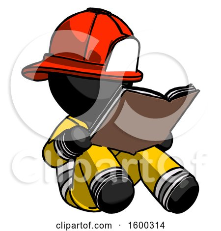 Black Firefighter Fireman Man Reading Book While Sitting down by Leo Blanchette