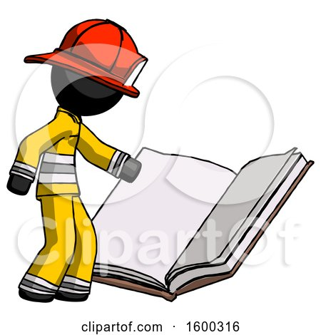 Black Firefighter Fireman Man Reading Big Book While Standing Beside It by Leo Blanchette