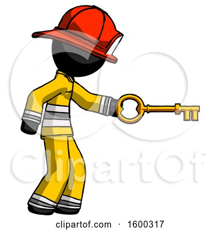 Black Firefighter Fireman Man with Big Key of Gold Opening Something by Leo Blanchette