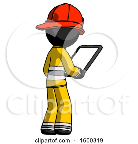 Black Firefighter Fireman Man Looking at Tablet Device Computer Facing Away by Leo Blanchette