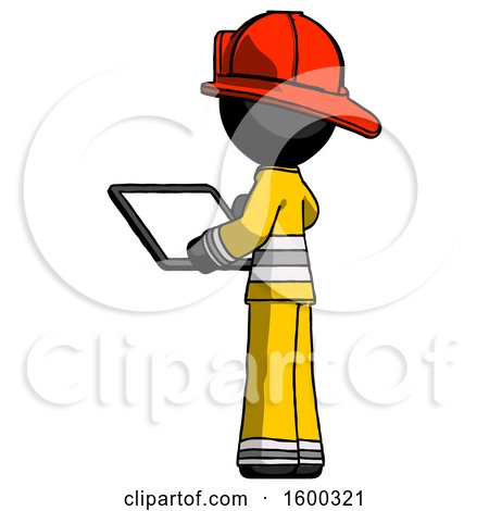Black Firefighter Fireman Man Looking at Tablet Device Computer with Back to Viewer by Leo Blanchette