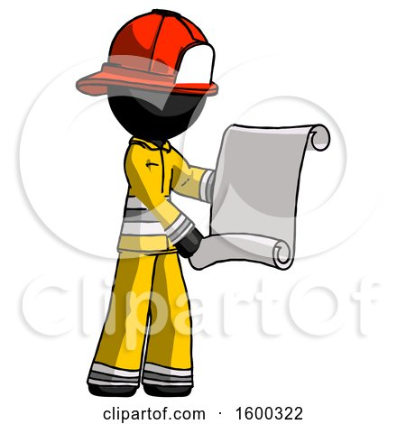 Black Firefighter Fireman Man Holding Blueprints or Scroll by Leo Blanchette