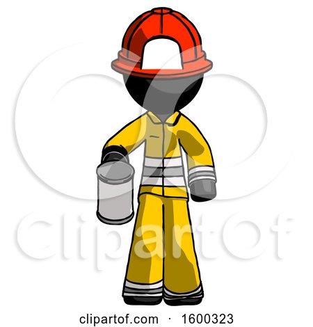 Black Firefighter Fireman Man Begger Holding Can Begging or Asking for Charity by Leo Blanchette