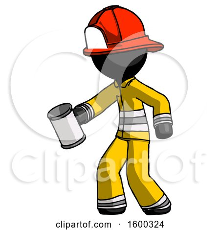 Black Firefighter Fireman Man Begger Holding Can Begging or Asking for Charity Facing Left by Leo Blanchette