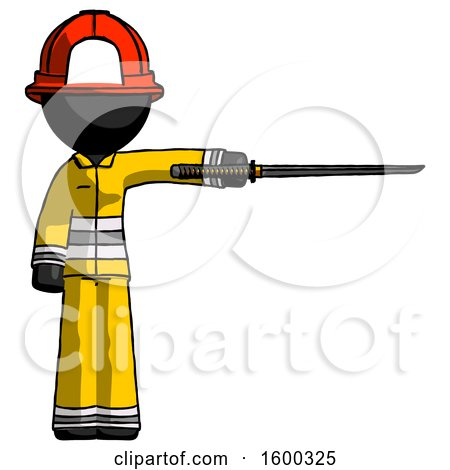 Black Firefighter Fireman Man Standing with Ninja Sword Katana Pointing Right by Leo Blanchette