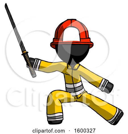 Black Firefighter Fireman Man with Ninja Sword Katana in Defense Pose by Leo Blanchette