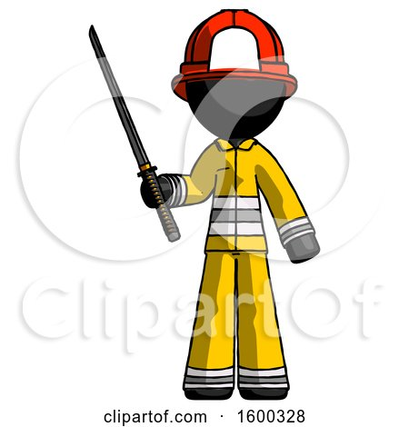 Black Firefighter Fireman Man Standing up with Ninja Sword Katana by Leo Blanchette