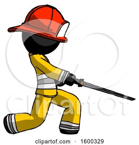 Black Firefighter Fireman Man with Ninja Sword Katana Slicing or Striking Something by Leo Blanchette