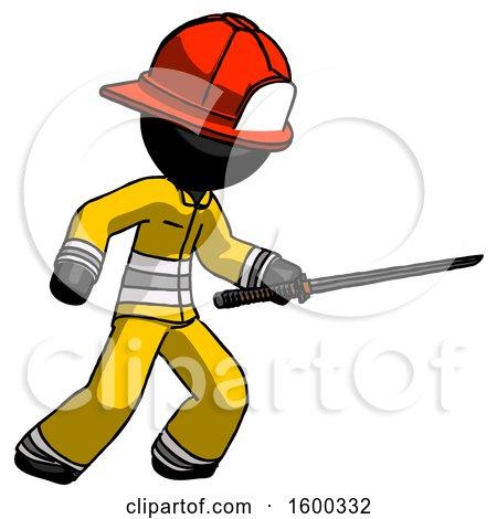 Black Firefighter Fireman Man Stabbing with Ninja Sword Katana by Leo Blanchette