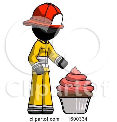 Black Firefighter Fireman Man with Giant Cupcake Dessert by Leo Blanchette