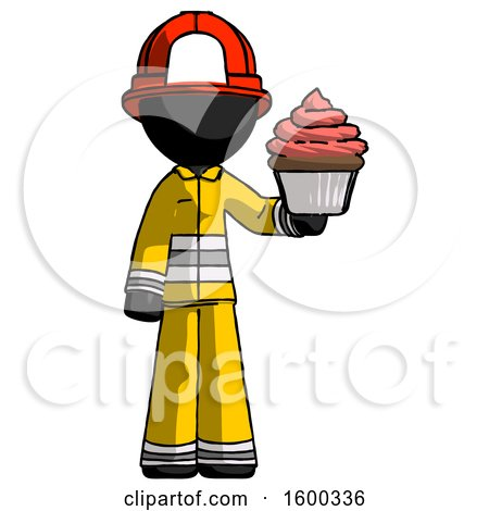 Black Firefighter Fireman Man Presenting Pink Cupcake to Viewer by Leo Blanchette