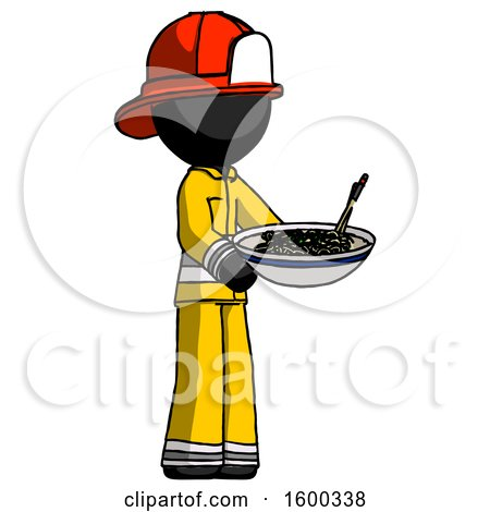 Black Firefighter Fireman Man Holding Noodles Offering to Viewer by Leo Blanchette