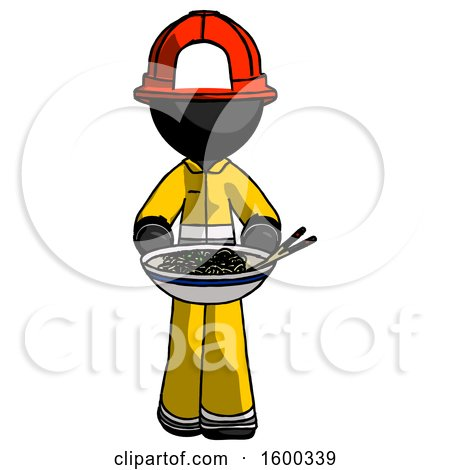 Black Firefighter Fireman Man Serving or Presenting Noodles by Leo Blanchette