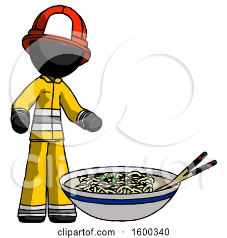 Black Firefighter Fireman Man and Noodle Bowl, Giant Soup Restaraunt Concept by Leo Blanchette