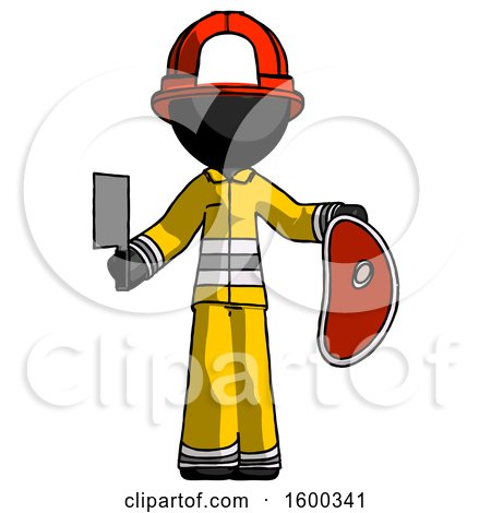 Black Firefighter Fireman Man Holding Large Steak with Butcher Knife by Leo Blanchette
