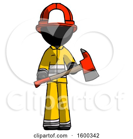 Black Firefighter Fireman Man Holding Red Fire Fighter's Ax by Leo Blanchette