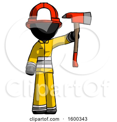 Black Firefighter Fireman Man Holding up Red Firefighter's Ax by Leo Blanchette