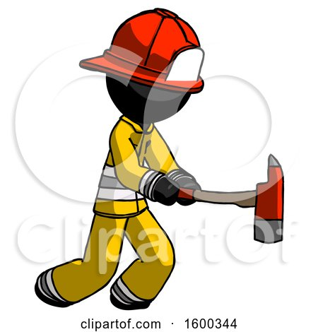 Black Firefighter Fireman Man with Ax Hitting, Striking, or Chopping by Leo Blanchette