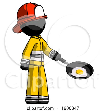 Black Firefighter Fireman Man Frying Egg in Pan or Wok Facing Right by Leo Blanchette
