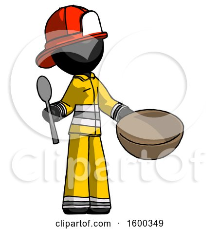 Black Firefighter Fireman Man with Empty Bowl and Spoon Ready to Make Something by Leo Blanchette