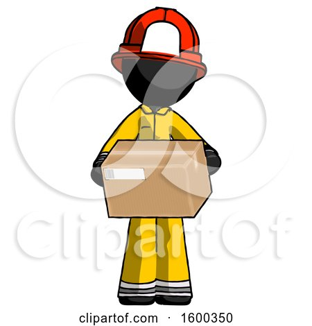 Black Firefighter Fireman Man Holding Box Sent or Arriving in Mail by Leo Blanchette