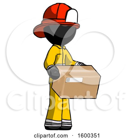Black Firefighter Fireman Man Holding Package to Send or Recieve in Mail by Leo Blanchette