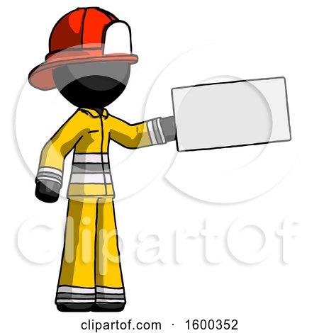 Black Firefighter Fireman Man Holding Large Envelope by Leo Blanchette
