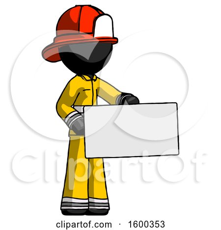 Black Firefighter Fireman Man Presenting Large Envelope by Leo Blanchette