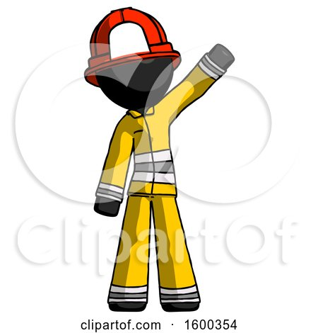 Black Firefighter Fireman Man Waving Emphatically with Left Arm by Leo Blanchette