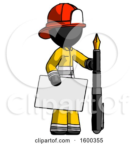 Black Firefighter Fireman Man Holding Large Envelope and Calligraphy Pen by Leo Blanchette