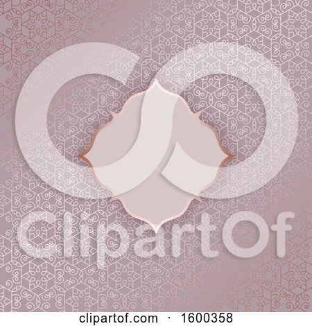 Clipart of a Blank Frame on a Gold and Pink Pattern Background - Royalty Free Vector Illustration by KJ Pargeter