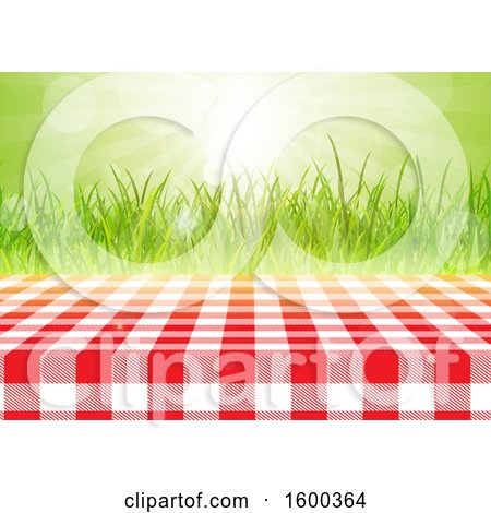Clipart of a Gingham Table Cloth on a Table over Grass and Sunshine - Royalty Free Vector Illustration by KJ Pargeter