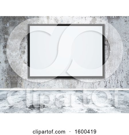 Clipart of a 3d Blank Picture Frame on a Concrete Wall - Royalty Free Illustration by KJ Pargeter
