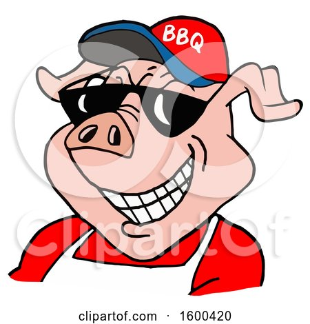 Clipart of a Pig Wearing a Bbq Hat and Sunglasses - Royalty Free Vector Illustration by LaffToon
