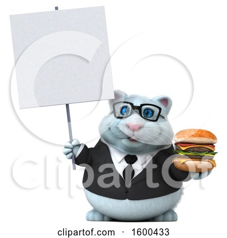 Clipart of a 3d White Business Kitty Cat Holding a Burger, on a White Background - Royalty Free Illustration by Julos