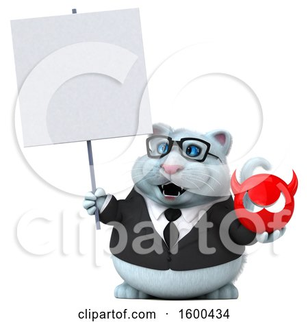 Clipart of a 3d White Business Kitty Cat Holding a Devil, on a White Background - Royalty Free Illustration by Julos