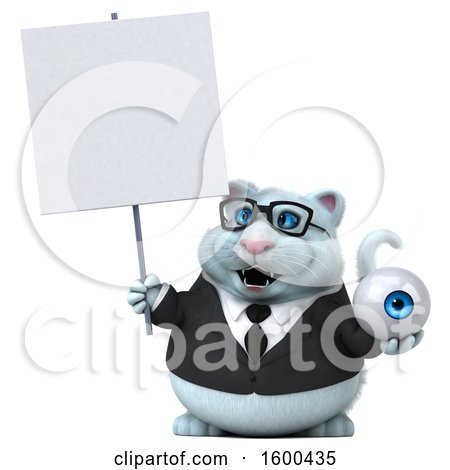 Clipart of a 3d White Business Kitty Cat Holding an Eye, on a White Background - Royalty Free Illustration by Julos