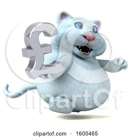 Clipart Of A 3d White Kitty Cat Holding A Pound Currency Symbol On