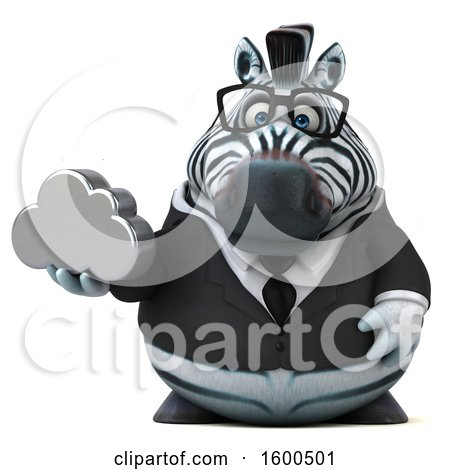 Clipart of a 3d Business Zebra Holding a Cloud, on a White Background - Royalty Free Illustration by Julos
