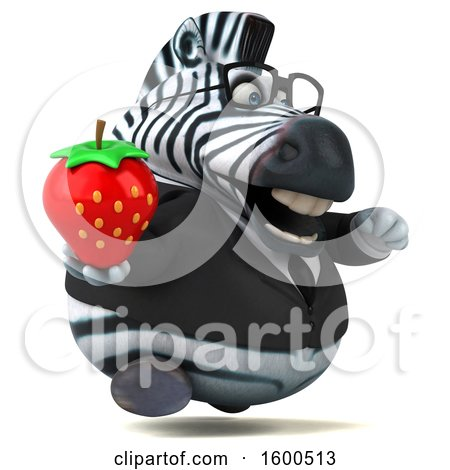 Clipart of a 3d Business Zebra Holding a Strawberry, on a White Background - Royalty Free Illustration by Julos