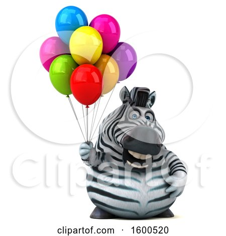 Clipart of a 3d Zebra Holding Balloons, on a White Background - Royalty Free Illustration by Julos