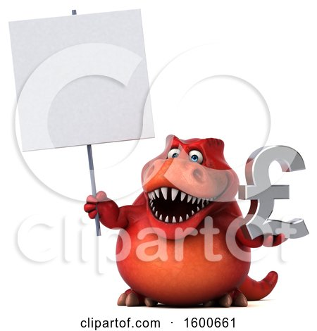 Clipart of a 3d Red T Rex Dinosaur Holding a Pound Currency Symbol, on a White Background - Royalty Free Illustration by Julos