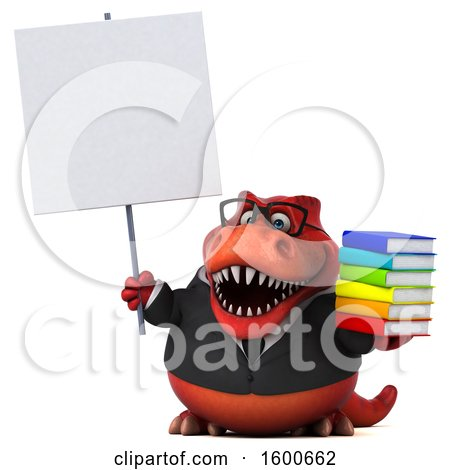 Clipart of a 3d Red Business T Rex Dinosaur Holding Books, on a White Background - Royalty Free Illustration by Julos