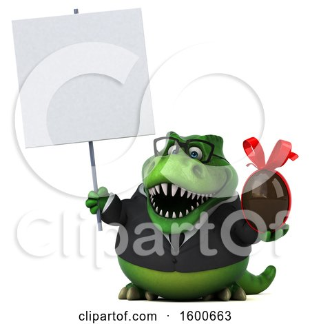 Clipart of a 3d Green Business T Rex Dinosaur Holding a Chocolate Egg, on a White Background - Royalty Free Illustration by Julos
