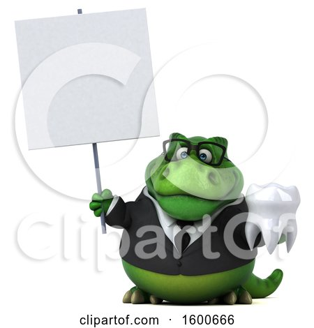 Clipart of a 3d Green Business T Rex Dinosaur Holding a Tooth, on a White Background - Royalty Free Illustration by Julos