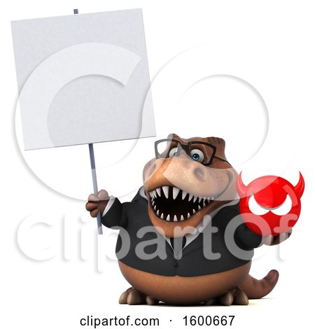 Clipart of a 3d Brown Business T Rex Dinosaur Holding a Devil, on a White Background - Royalty Free Illustration by Julos